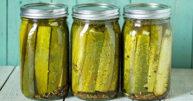 three jars of pickles